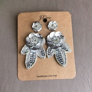 Brand new J Crew silver sequins earrings